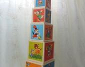 Vintage Disney Stacking Blocks, Wood Stacking Blocks, Disney Nesting Blocks