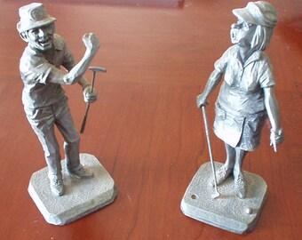 Golfer Pewter Figurines Set/Philip Kraczkowski Hudson Pewter Golfer Sculptures/Set of Two Pewter Golfers Figurines/