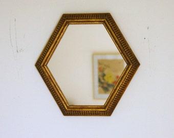 Hexagon Mirror, Wall Mirror, Gold Mirror, Wood Framed Mirror