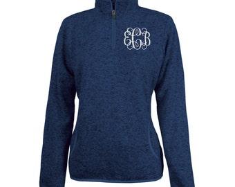 Monogrammed 1/4 Zip Heather Fleece Pullover Embroidered Quarter Zip - Personalized Fleece Pullover - Color NAVY