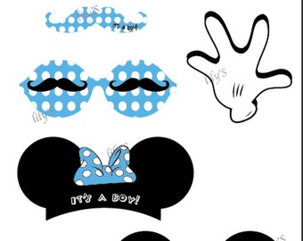 Mickey And Minnie Mouse Photo Booth Props for Baby Shower (Digital Download)
