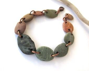 Stone Bracelet Mediterranean Beach Stone Jewelry River Stone Bracelet River Rock Beach Rock Copper Rustic Jewelry PRANA