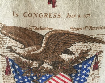 1976 Calendar Tea Towel, American Eagle, Red, White and Blue, Declaration of Independence