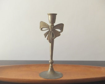 Brass Metal Candle Holder with Bow