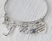 Mother of the Bride Bracelet-The love between a mother and daughter is forever-Initial Bridal Jewelry-Expandable Bangle-Charm Bracelet