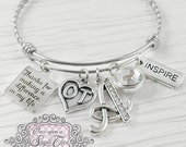 OT GIFTS , Thank you Bracelet, Occupational Therapy Gifts, Letter Bangle Bracelet-Jewelry, Occupational Therapist- Inspire, Therapist Gift
