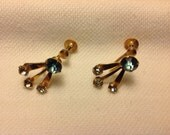 Vintage aqua stone and gold screw back earrings
