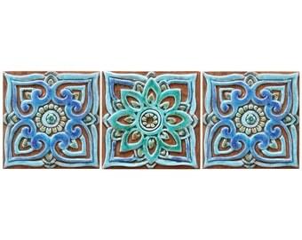 3 wall decor mandalas, Spiritual gift, Meditation art with mandala design 15cm, Turquoise