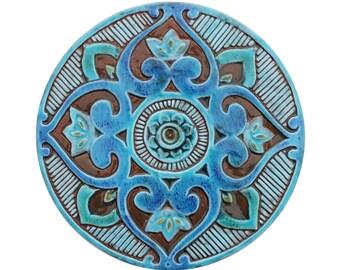 Mandala art // Meditation art with mandala design // Spiritual gift // Yoga art // Mandala decor // Mandala #3 Circle // 30cm // Turquoise