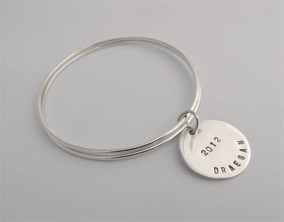 Silver bangles with personalised stamped disc FREE EXPRESS POST in Australia