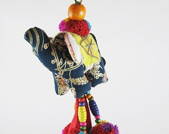 Handmade Elephant Keychain, Elephant Keychain, Elephant Colorful, Animal Keychain