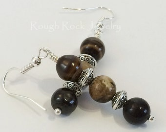 Picture Jasper Earrings / Stone Earrings / Brown Earrings