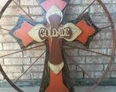 Extra Extra Large Wood Cross, Personalized Brown Wood Cross,  29x39