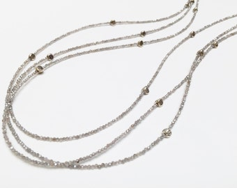 Labradorite Beaded Necklace with Sterling Silver Bali Beads