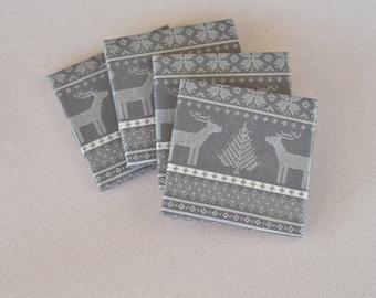Scandinavian Christmas Coasters Cozy Knit Pattern Rustic Woodland Deer Grey Hostess Gift Scandi Coasters