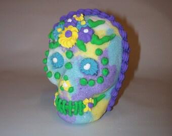 Sugar Skull Handmade Mexican Day of the Dead - Halloween Skull Decororation - Purple