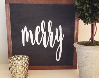 Wood Sign - Handcrafted - MERRY - Hand Lettering, Christmas, Holidays