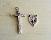Silver Rosary Crucifix with Miraculous Medal Oval Rosary Center - 1 set