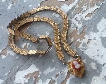 Victorian Book Chain Cameo Necklace