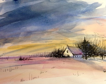 Winter days , 5 watercolor prints , blank cards