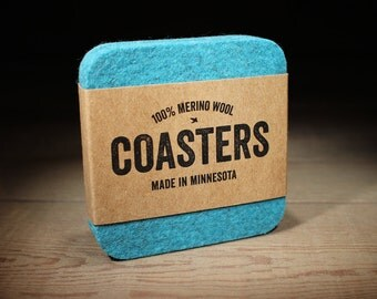 100% Merino Wool Square Felt Coasters - 5mm Thick German-milled Felt - Rich, Lightfast Colors - Natural and Renewable - Turquoise