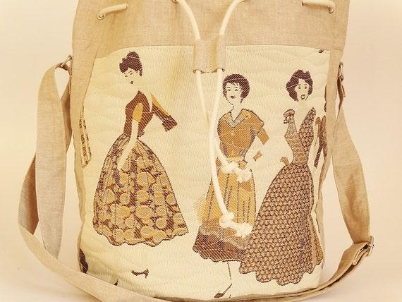 Vintage Ladies Fashion Shoulder Bag, Girl Drawstring Bucket Bag, Christmas Gift for Sister, Girl School Gimm Bag