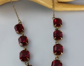 Art Deco Czech Ruby Glass Necklace