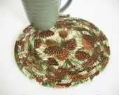 Coiled Trivet , Mug Rug, Candle Mat, Pine Cone Decor, Kitchen Decor, Rustic Lodge Decor, Cabin Decor