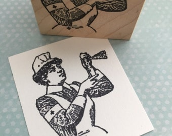 Nurse Lady  RN  Rubber Stamp 5160