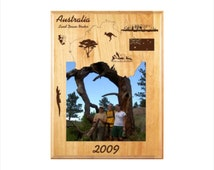 Personalized Australia Photo Frame - Engraved Wood Picture Frame - Customized Australia designed frame - Vacation Travels Memory Gift