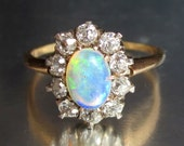 Antique Victorian Opal and Diamond Halo Engagement Ring 14K