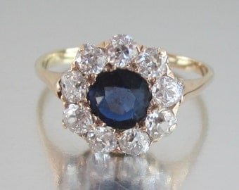 Antique Sapphire and Diamond Halo Engagement Ring 14K