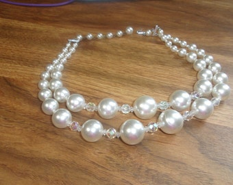 vintage necklace double strand faux pearls glass