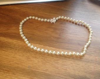 vintage necklace heavy faux pearls strand rhinestones clasp