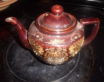 vintage porcelain teapot acme china japan brown handpainted