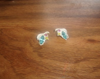 vintage clip on earrings white metal colorful rhinestones