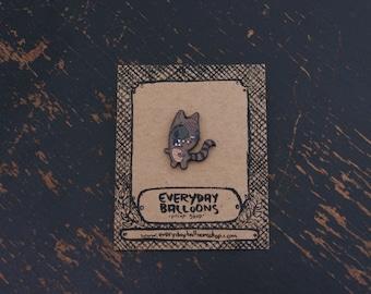 raccoon pin, raccoon enamel pin, raccoon lapel pin, cute enamel pin