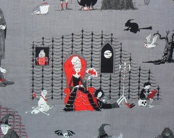Halloween Fabric,  The Oddities, Witches Brew,  Elizabeths Studio, Vampires on Grey, Witches, Monsters, Ghouls, Bats, By the Yard, Cotton