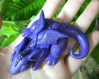 Purple Sleepy Dragon Sculpture