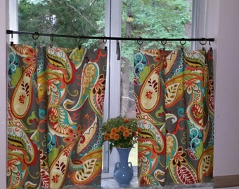 Curtain Panels . Cafe Curtains .  Paisley Whimsey Mardi Gras by Covington .  Beautiful Handmade by SeamsOriginal