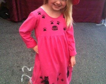 Long sleeve fuschia kitty dress
