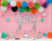 YAY script- Silver Mylar Balloons {Party- Celebration Decor}