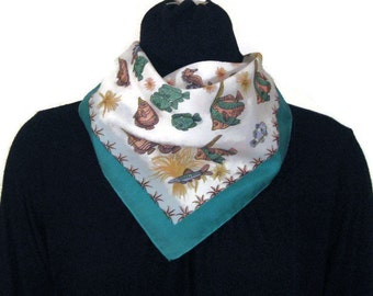 70s Square Scarf Fish Scarf Tropical Fish Scarf Blue White Scarf Teal White Scarf 1970s Head Scarf Illustrated Fish Scarf Vintage Neck Scarf