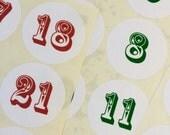 Advent Calendar Number Stickers Christmas