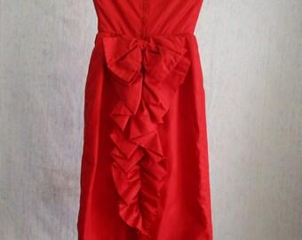 80s XXS Moire Taffeta Strapless Ruffled Dress Scarlet Red