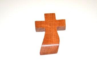 "Wood Wall Cross-Hand Held Prayer Cross-Witness Cross-Paper Weight- Original Crooked Cross- 3""x5""x1""; Free Ground Shipping USA; cc5-12082616"