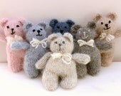 Simple teddy bear, small thick soft fuzzy mohair handknit new baby toy, softie, gift, baby shower, newborn photography prop - choose a color
