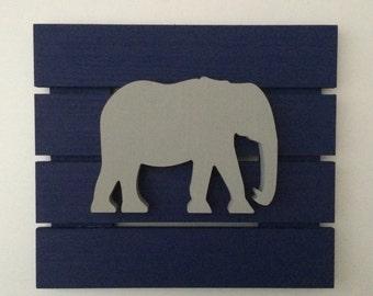 Elephant nursery decor  in navy and gray