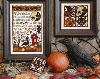 When Witches Go Riding Book No. 148 Halloween cross stitch by Prairie Schooler at cottageneedle.com Halloween October Autumn
