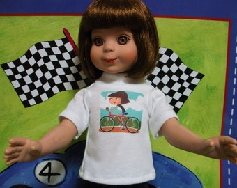 """Fits 14"""" Betsy McCall -Tonner Doll . White Short SleeveT-Shirt-Bicycle ... D312"""